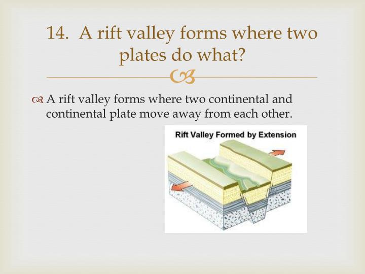 14.  A rift valley forms where two plates do what?