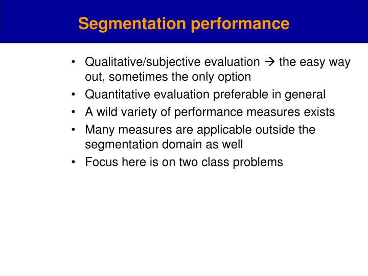 Segmentation performance