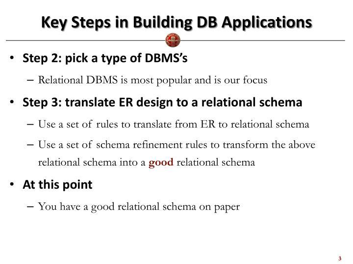 Key Steps in Building DB Applications