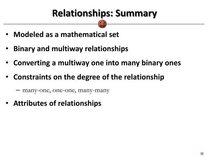 Relationships: Summary