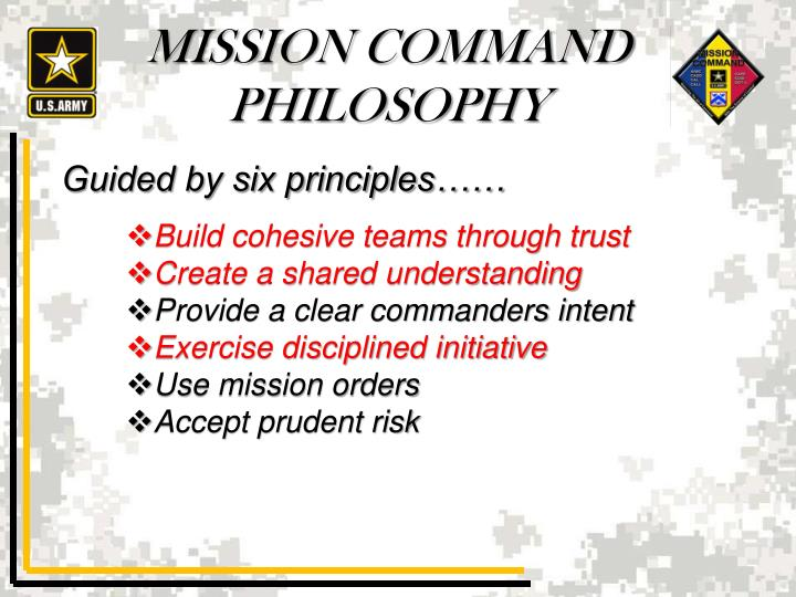 mission command analysis That demonstrates how the case illustrates mission command principles this structure was designed for use in training and schools but is equally conducive for self-study programs.