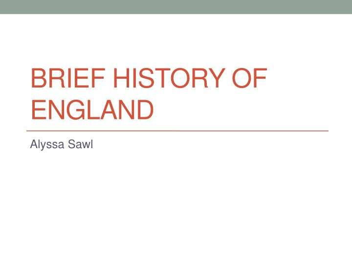 brief history of england n.