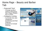 home page beauty and barber tab