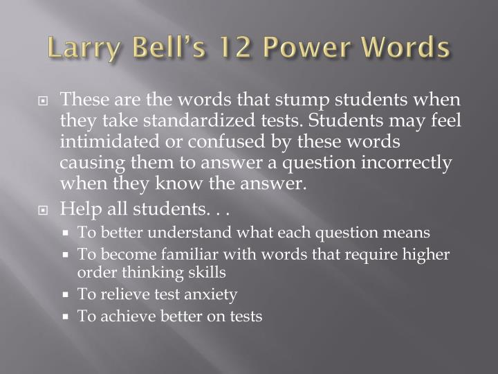 Larry Bell's 12 Power Words