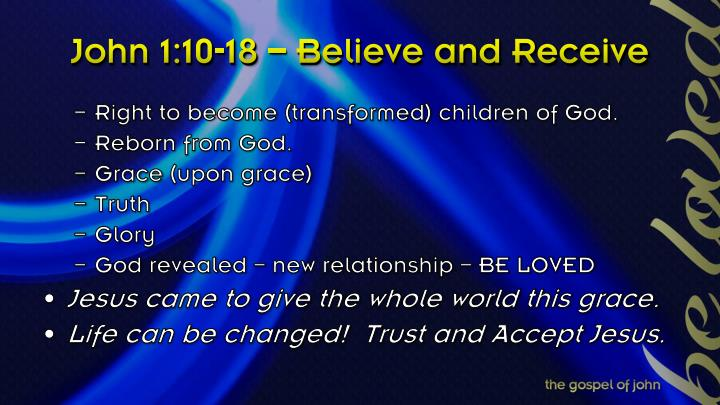 John 1:10-18 – Believe and Receive