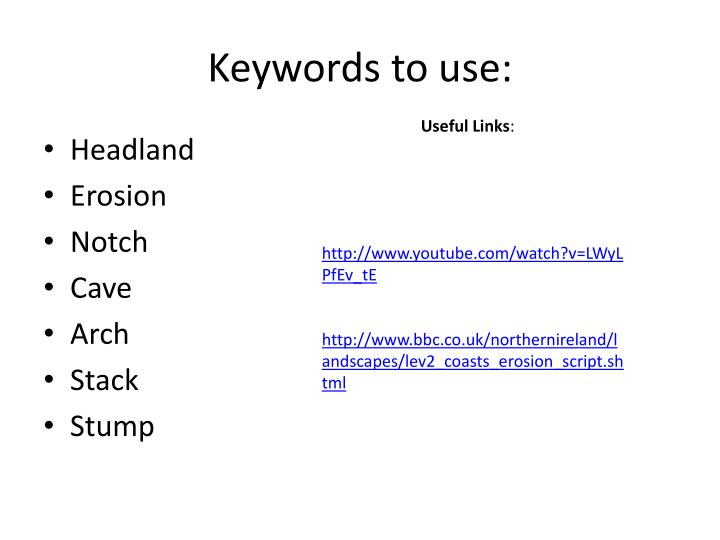 Keywords to use