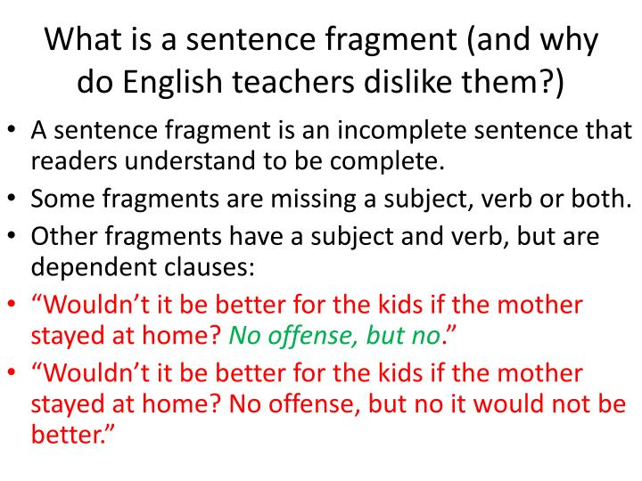 sentence and fragment