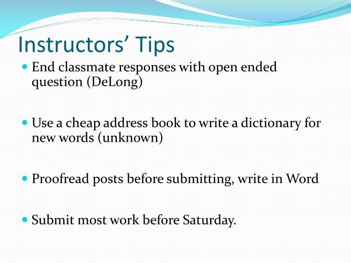 Instructors' Tips