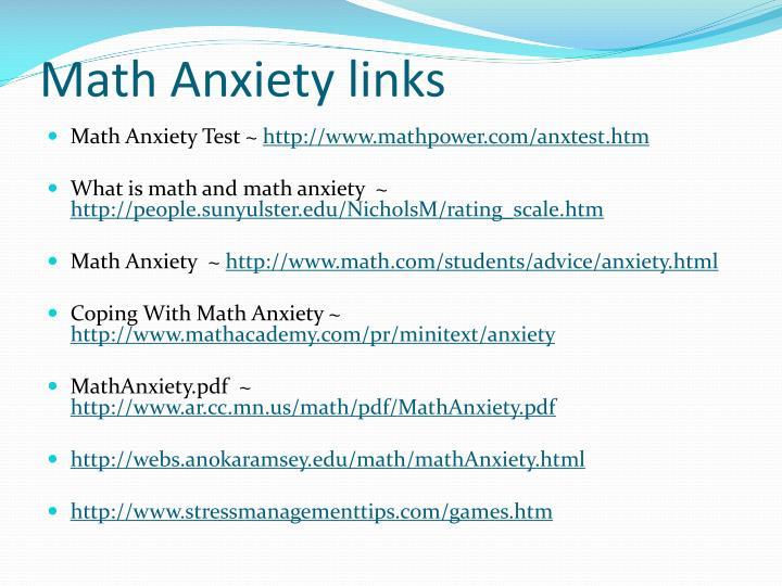 Math Anxiety links