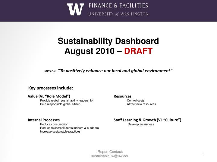 sustainability dashboard august 2010 draft