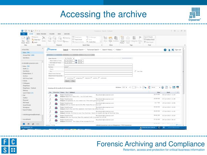 Accessing the archive