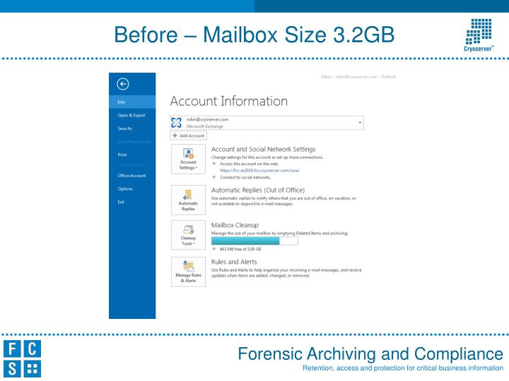 Before – Mailbox Size 3.2GB