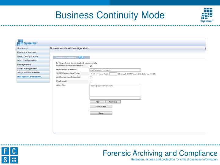Business Continuity Mode