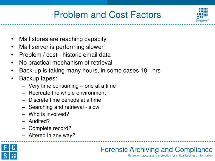 Problem and cost factors