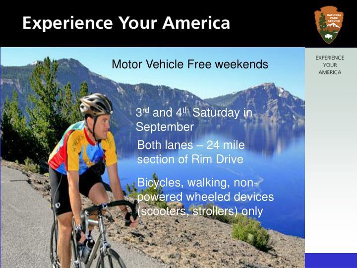 Motor Vehicle Free weekends