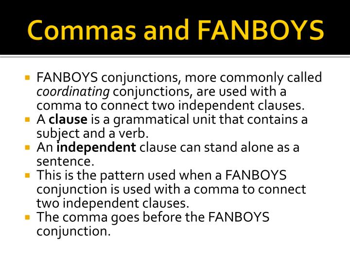 Commas and FANBOYS