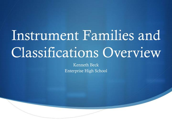 instrument families and classifications overview n.