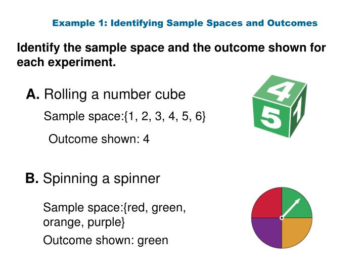 Example 1: Identifying Sample Spaces and Outcomes