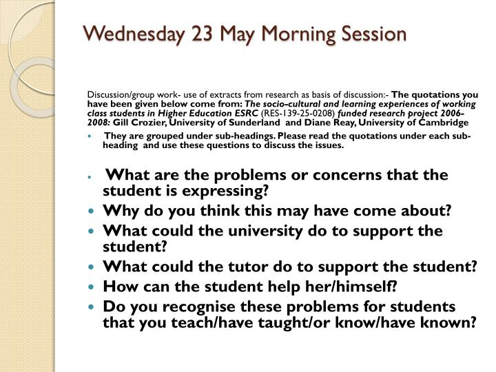 Wednesday 23 May Morning