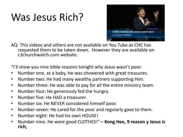 Was Jesus Rich?