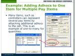 example adding adhocs to one item for multiple pay items