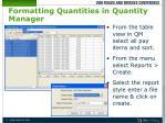 formatting quantities in quantity manager