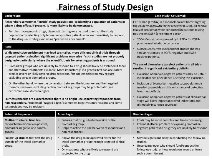 Fairness of Study Design