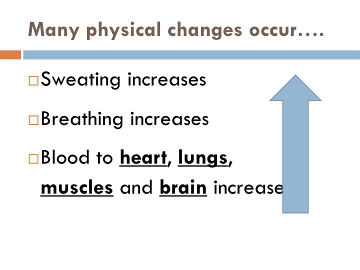 Many physical changes occur….