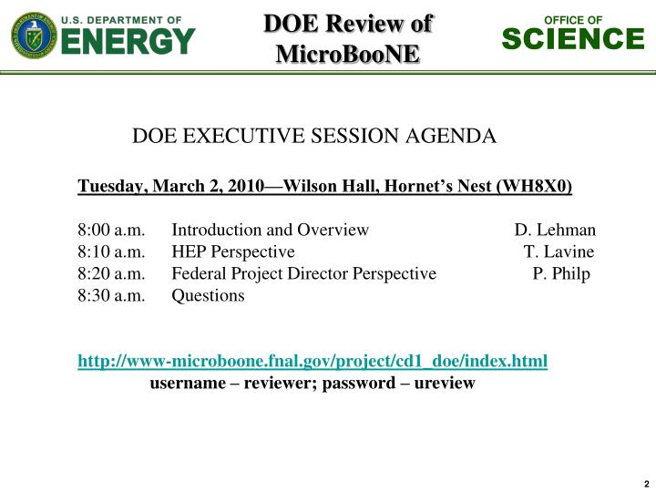 Doe review of microboone