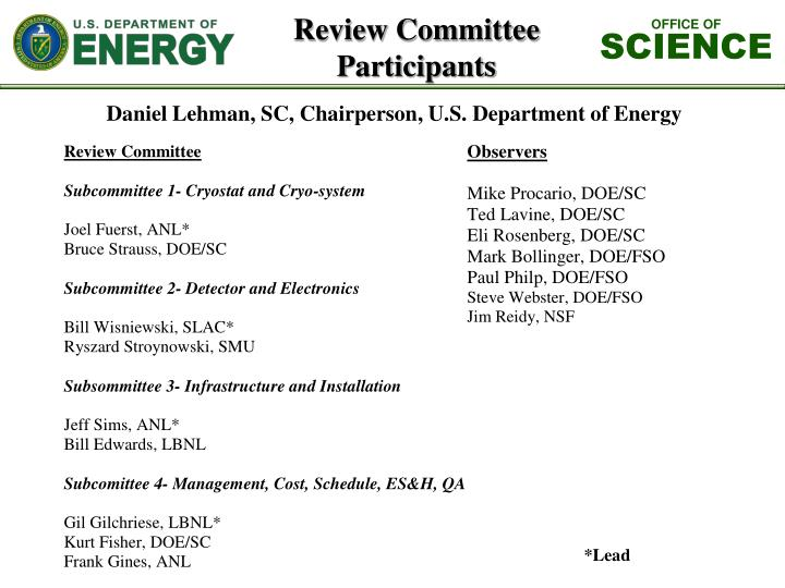 Review committee participants