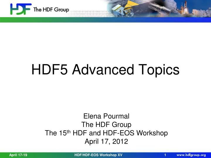 hdf5 advanced topics n.