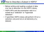 how to describe a subset in hdf5