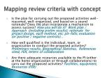 mapping review criteria with concept1