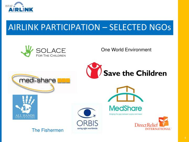AIRLINK PARTICIPATION – SELECTED NGOs