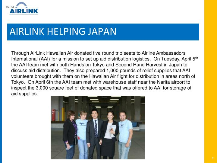 AIRLINK HELPING JAPAN
