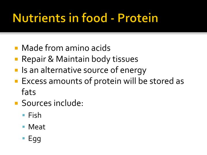 Nutrients in food - Protein