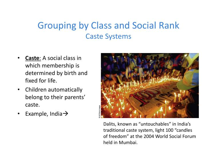 Grouping by class and social rank caste systems