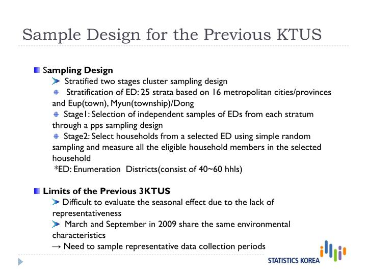 Sample Design for the Previous KTUS