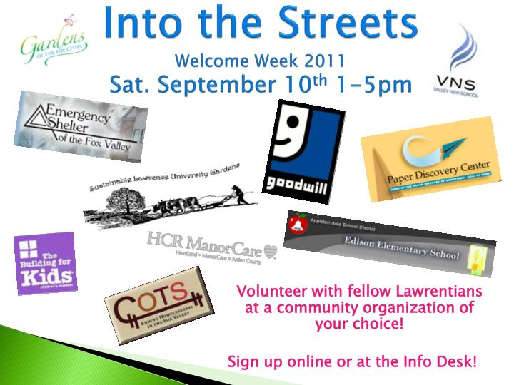 Into the streets welcome week 2011 sat september 10 th 1 5pm