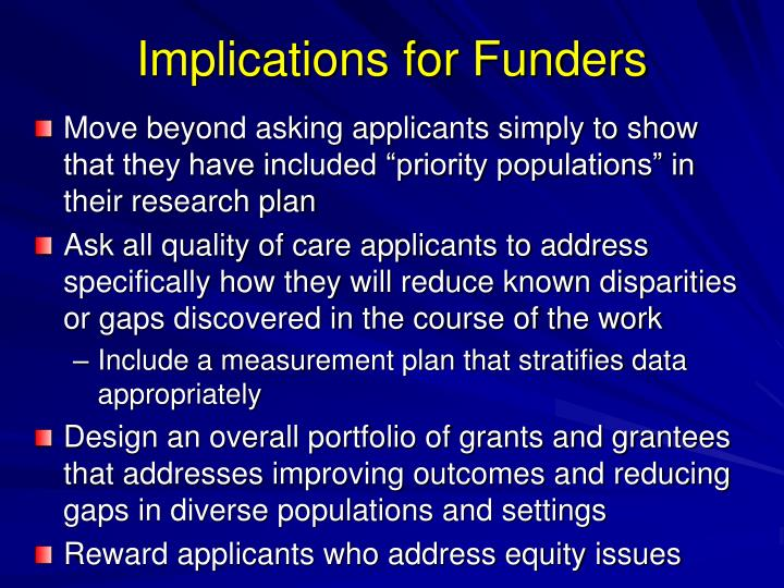Implications for Funders