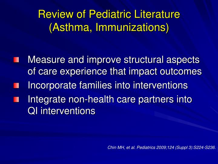 Review of Pediatric Literature