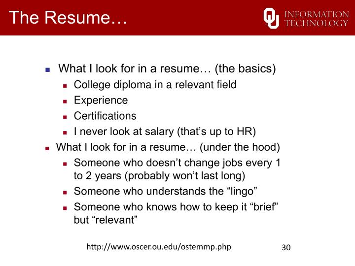 The Resume…