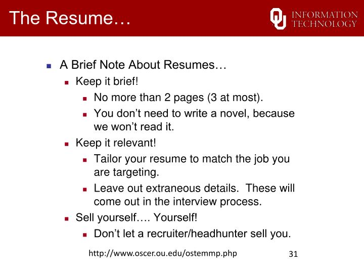 A Brief Note About Resumes…