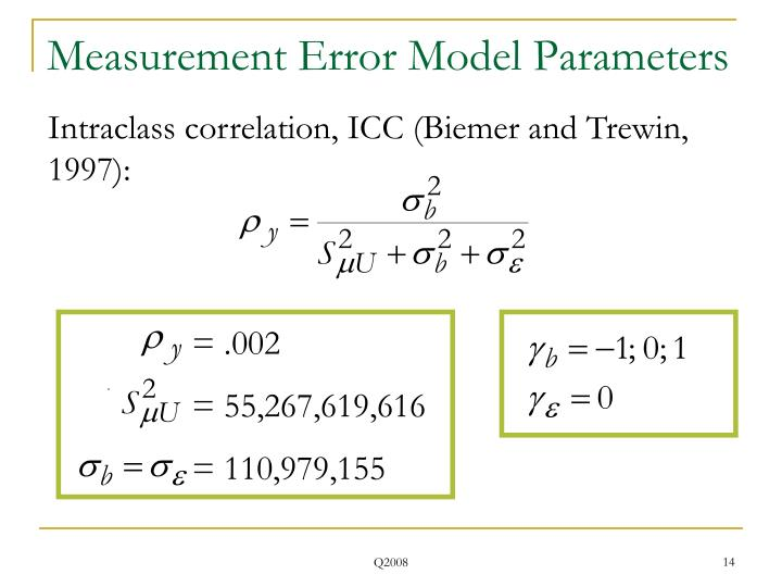 Measurement Error Model Parameters
