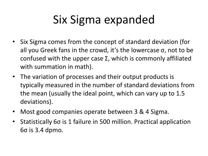 Six Sigma expanded