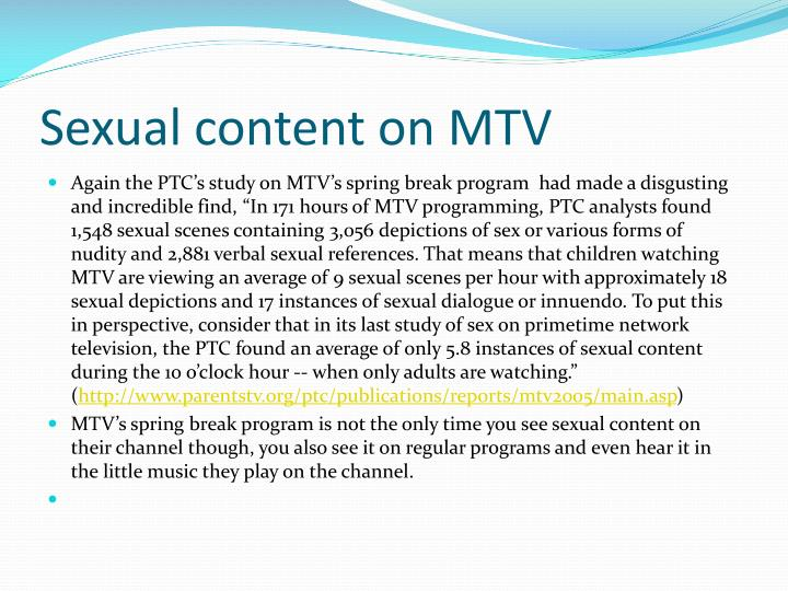 Sexual content on MTV