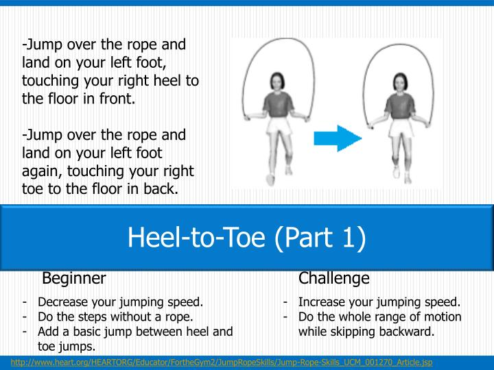 -Jump over the rope and land on your left foot, touching your right heel to the floor in front.