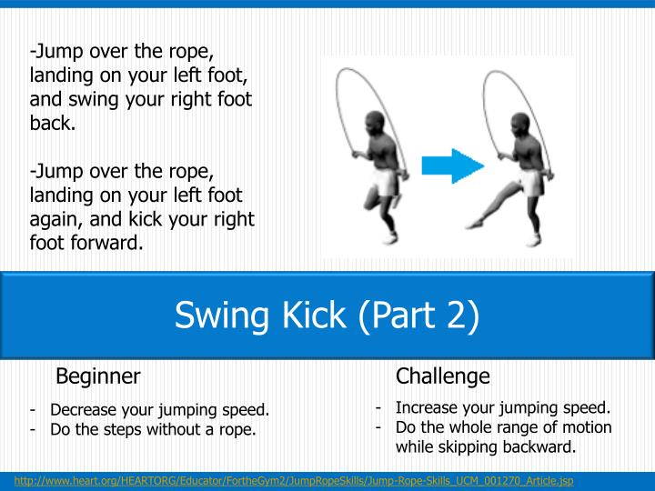 -Jump over the rope, landing on your left foot, and swing your right foot back.