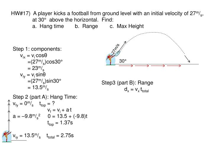 HW#17)  A player kicks a football from ground level with an initial velocity of 27