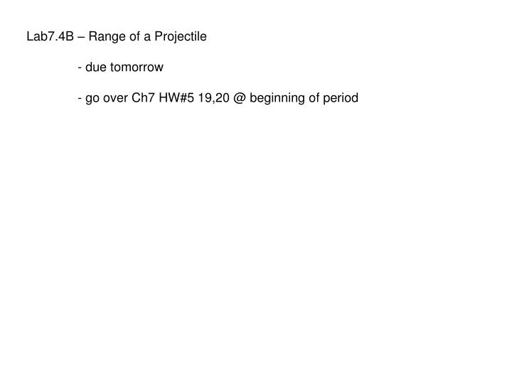 Lab7.4B – Range of a Projectile